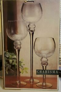 Charisma Set of 3 Hurricanes glassware candle Cups Large Great Same Day Shipping