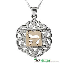 A Divine 925 Sterling Silver Magen David Pendant With 14K gold Hebrew letter