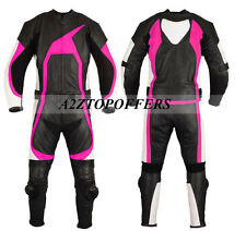 Purple lining ladies motorbike leather suit two piece can be customize bike suit