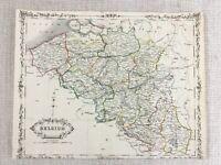 1848 Antik Map Of Belgien Belgische 19th Jahrhundert Hand- Farbig Gravur