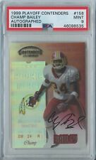 Champ Bailey 1999 playoff contenders #158 Washington RC rookie ticket auto PSA 9