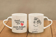 "Jack Russel Terrier - ceramic cup, mug ""Good morning and love, heart"", Usa"