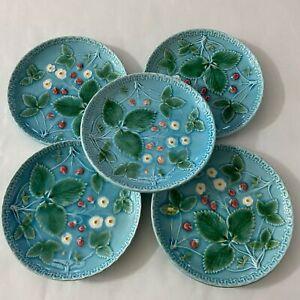 5pc Vintage ZELL Glazed Majolica Ceramic Plates Blue Floral
