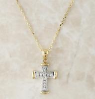 9ct Diamond Necklace - 9ct Yellow & White Gold Diamond Cross Pendant & Chain