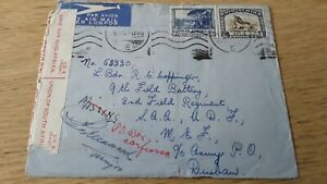 WW11, SOUTH AFRICA  1941 ENVELOPE,  OPENED  BY CENSOR,  to  9th  Field Battery,