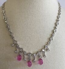 Vintage Sterling Silver 925 Clear Rhinestone & Pink Beads Drop Necklace Pendant