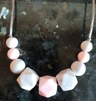 Teething Necklace Nursing Sensory Jewellery Pink/Grey Marble Fiddle Beads