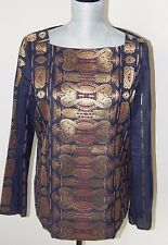 Tory Burch Jacquard Top Navy Gold Tapestry Inspired Square Neck Size 8 NWT $495