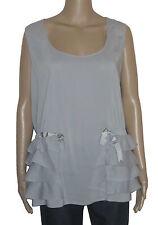 Love Moschino Women's Top Shirt Con Balze E Laccio Grey (Size 40)
