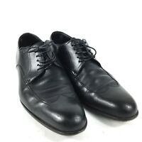 Hugo Boss Mens Black Leather Oxfords Dress Shoes US 7.5 Lace Up