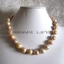 """18"""" 12-14mm AA Pink Lavender Kasumi Freshwater Pearl Necklace UE"""