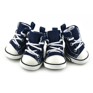 4pcs Pet Dog Denim Sports Boots Puppy Anti-slip Shoes Sneakers For Small Dogs