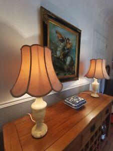A Large Pair Of Vintage Alabaster Onyx Marble Mid Century Table Lamps