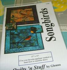 "Quilts 'n Stuff by Glenna 15x13"" Songbirds small quilt craft pattern applique"