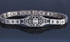 Vintage Platinum 14k White Gold Sapphire Diamond Art Deco 6.5'' Bracelet