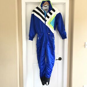 Vintage 80s TYROLIA / Retro Blue Multi One Piece SKI SUIT Snow Snowsuit Sz 8