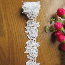 1 yard Vintage Rose Blanc Bordé Dentelle Trim Ruban Applique Artisanat coudre HG