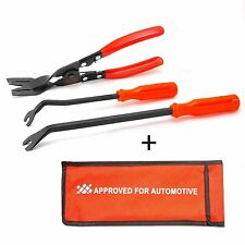 3Pcs Car Door Upholstery Remover Card Panel Clip + Removal Pliers Pry Bar Tools