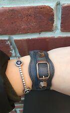 BALENCIAGA Wide Gray Leather Moto Cuff Bracelet Rose Gold Hardware Small S RARE!