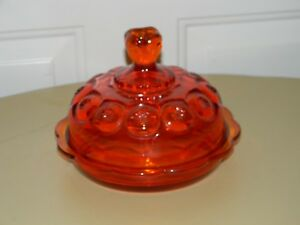 VINTAGE LE SMITH LARGE ROUND MOON & STARS ORANGE GLASS LIDDED BUTTER DISH
