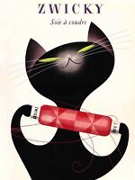 """Vintage Illustrated Poster CANVAS PRINT Zwichy Black cat 8""""X 12"""""""
