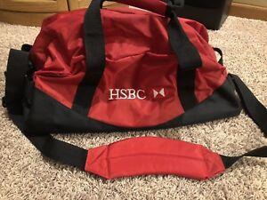"New HSBC Bank Duffle Bag Red Duffel Carrying Sport Gear 20"" Gym Luggage"
