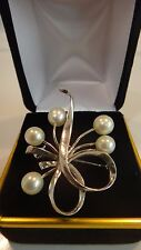 Vintage Mikimoto Five Pearls 6mm Floral Brooch Sterling Silver Hallmarked
