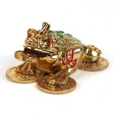"Money Toad Jin Chan Feng Shui Trinket Box Gold Tone Metal & Rhinestones 5""L New"