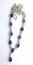 Natural 10 Pear Amethyst Cabochon Cab  Gem Sterling Silver 18 Inch Necklace