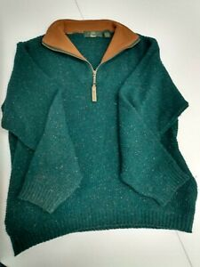 Orvis Men's Quarter Zip Wool Blend Sweater  Size M; wears more large.blue/green