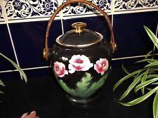 VINTAGE GILDED POTTERY BISCUIT JAR & LID BOUND WICKER HANDLE PINK ROSES ON BLACK