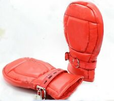 Leather Deluxe Fist Mitts Gloves  Restraint 6103 red