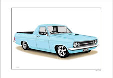 HOLDEN HR UTE  LIMITED EDITION CAR DRAWING  PRINT  (  6  CAR COLOURS )
