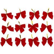 12 Pcs Nouveax noeuds de papillons suspendus d'orement d'Arbre de noel Roug F5L1