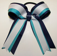 Blue Ponytail Bow Navy Turquoise White Cheer Volleyball Softball Soccer Gymnast
