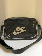 Vintage Nike Large Swoosh Patent Leather Gray  Messenger Gym Bag Polyurethane