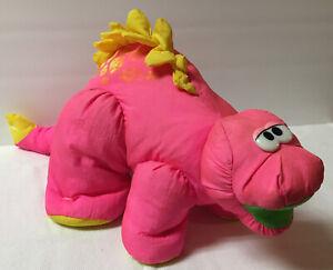 Fisher Price Puffalumps Roaring Pink Stegosaurus Dinosaur Plush Vintage 1992 LR