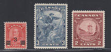 Canada Sc 191, 208, 210 MNH. 1932-34 issues, 3 cplt sets F-VF