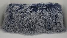 Mongolian Lamb Pillow Indigo blue Sheepskin Fur cushion New made in  USA