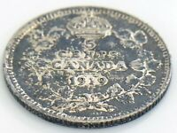 1919 Canada Five 5 Cent Small Silver Circulated Canadian George V Coin J996