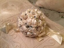 Sparkling Crystals Beads  Rose Wedding Flowers Bridal Bouquets Brooch IN USA