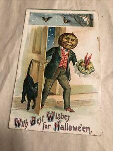 Antique Pumpkin Head Man & Babies With Black Cat Halloween Original Postcard