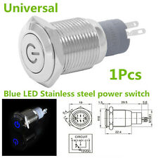 Car Boat Waterproof Stainless Steel Blue 12V LED Power Button Switch Push ON/OFF