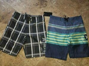 Boys Hurley Boardshorts Swim Board Shorts Trunks Blue Black