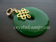 FENG SHUI - JADE DISC PENDANT WITH MYSTIC KNOT (GOLD PLATED)