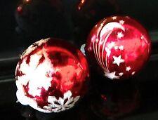 "Christmas Tree Balls Set of 2 Hanging Glass Red Snowflake Star Ornaments 3"" tall"