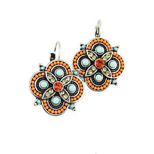 Vintage Style Silver Plated Orange & Light Blue & Yellow Crystal Flower Earrings