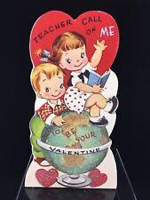 New~Retro Valentine Teacher Wood Dummy Board~Bethany Lowe~Children with Globe