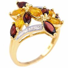 GARNET CITRINE DIAMOND RING. NATURAL STONES. SOLID 9K 375 GOLD. DINNER COCKTAIL.