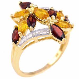 NEW NATURAL GARNET & CITRINE RING. 4 GENUINE DIAMONDS SOLID 9K GOLD GIFT BOXED.